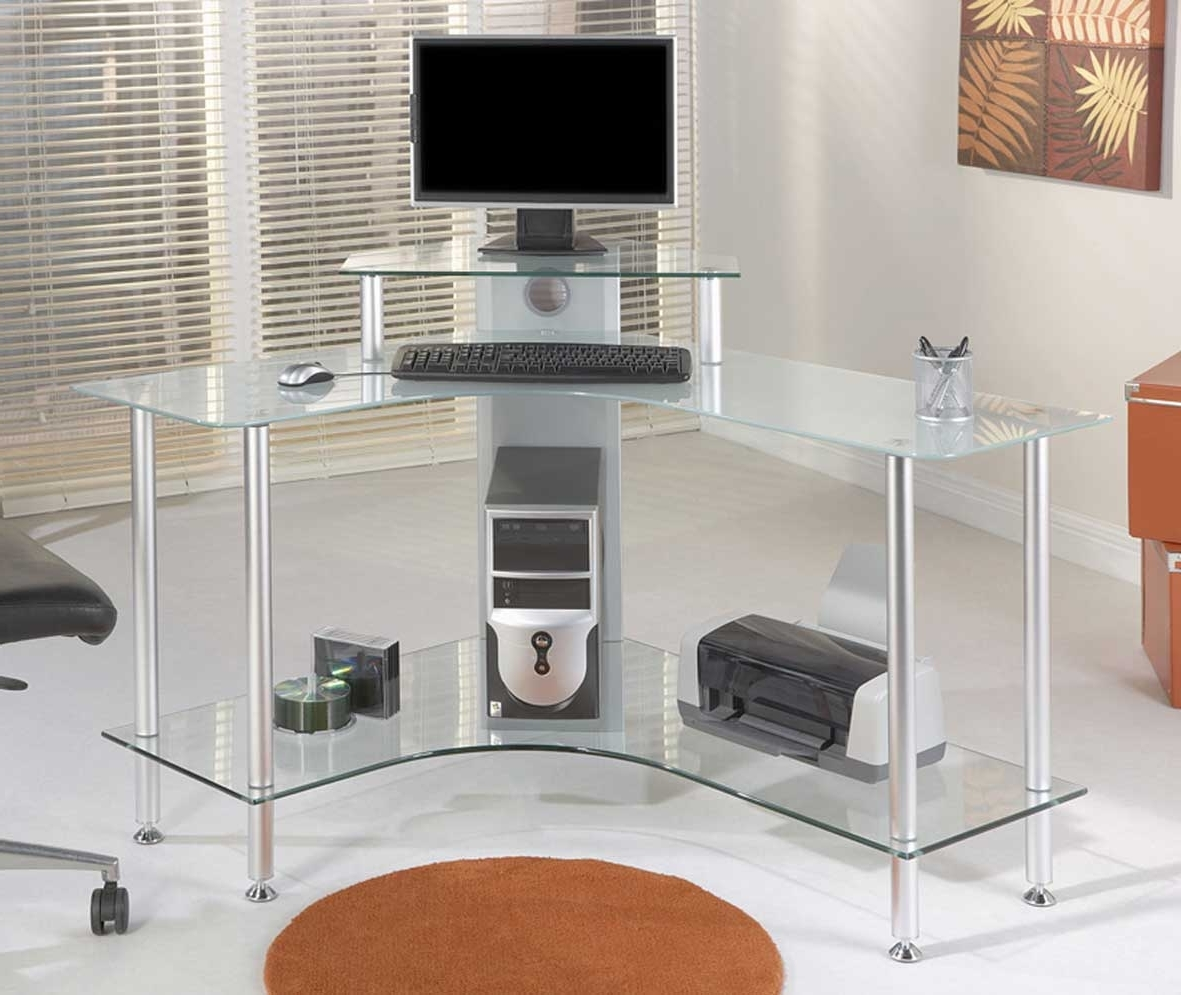 Well Known Office: Glass Office Desk Ideas Using Transparent Corner Computer Intended For Glass Corner Computer Desks (View 20 of 20)