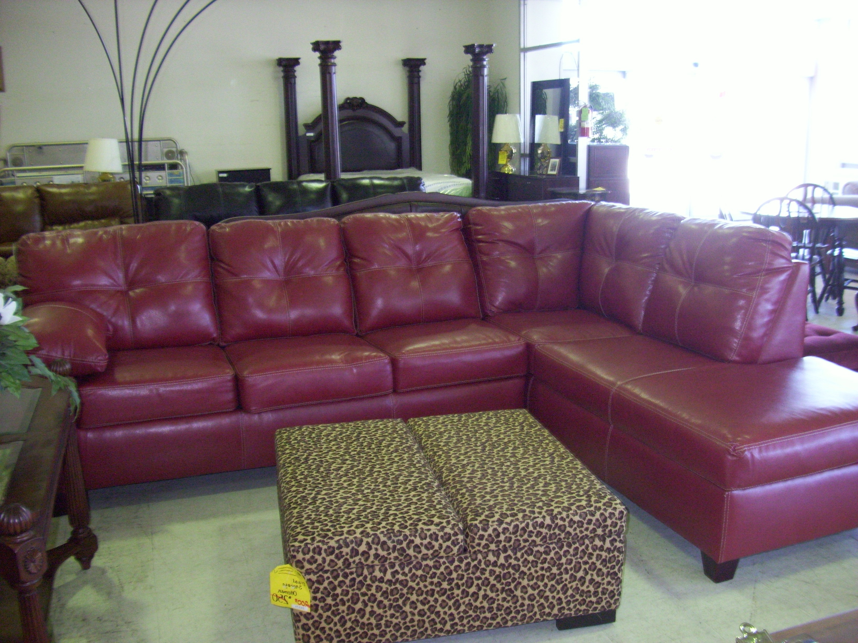 Well Known Red Faux Leather Sectionals Pertaining To Luxutr Red Faux Leather Sofa Mixed White Cushions And Chromed (View 7 of 20)