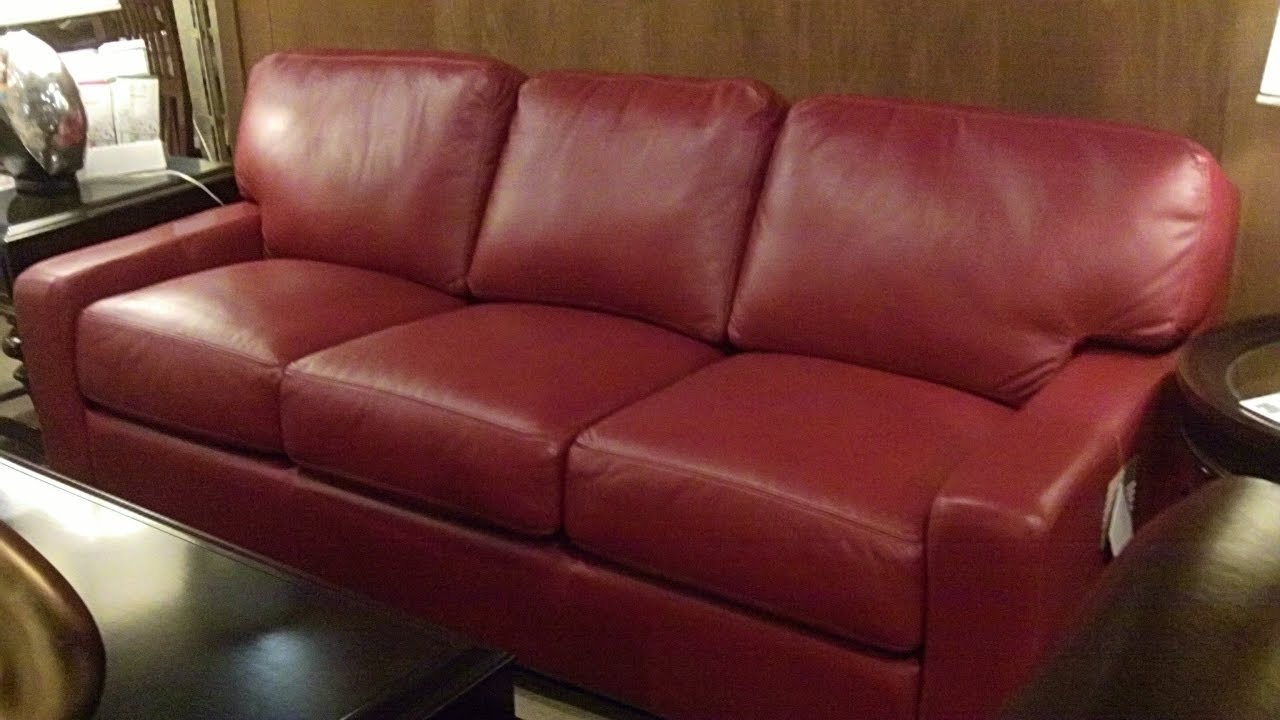 Well Known Red Leather Couches – Youtube Inside Red Leather Couches (View 2 of 20)