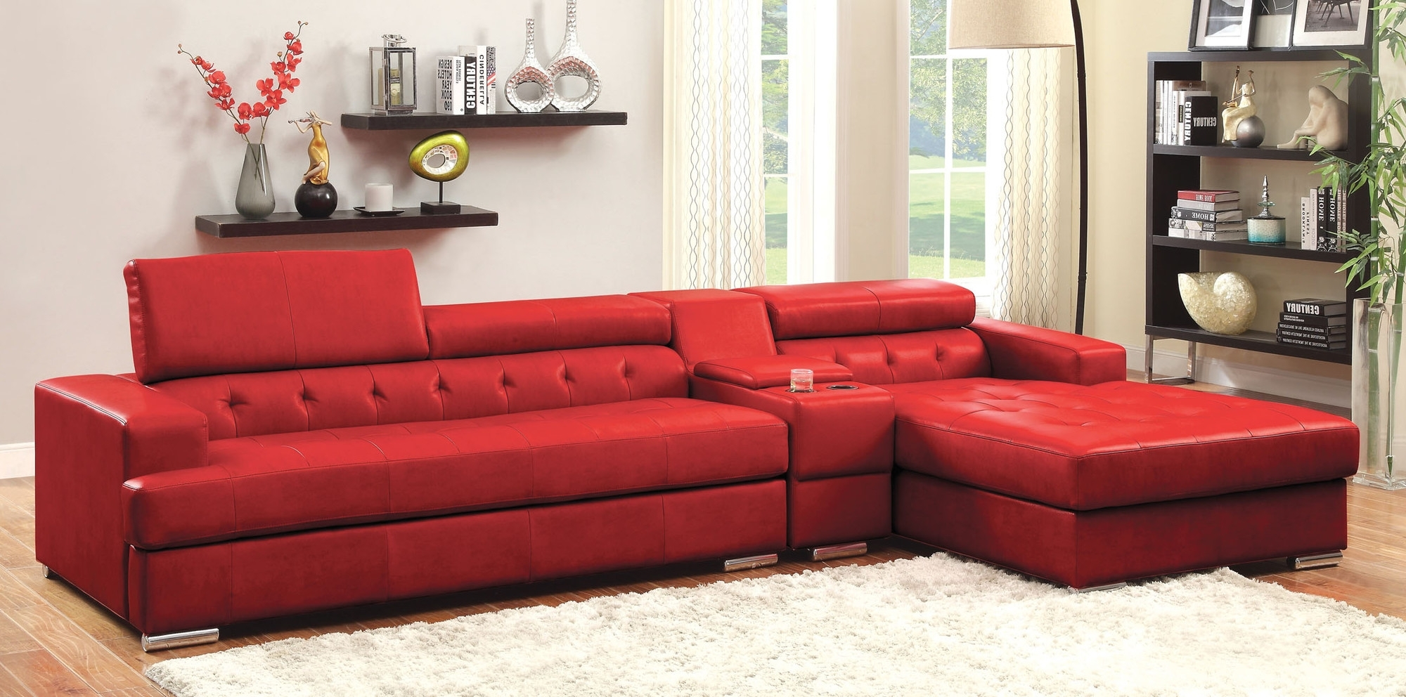 Well Known Red Sleeper Sofas Throughout Fascinating L Shaped Red Vinyl Modern Sleeper Sofa Stainless Steel (View 19 of 20)