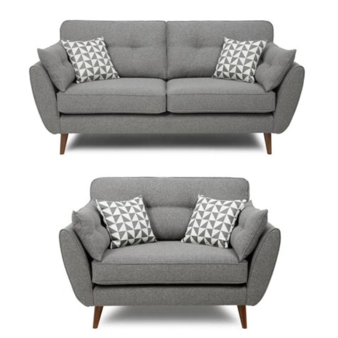 Well Known Retro Sofas And Chairs Regarding French Connection Grey Sofa And Cuddle Chair … (View 20 of 20)