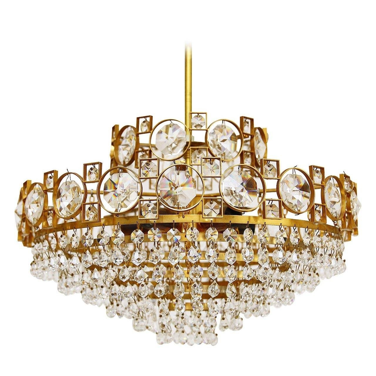 Well Known Sciolari Flush Mount Chandelier, Chrome Glass, Italy, 1970 For Sale Regarding Wall Mount Crystal Chandeliers (View 19 of 20)