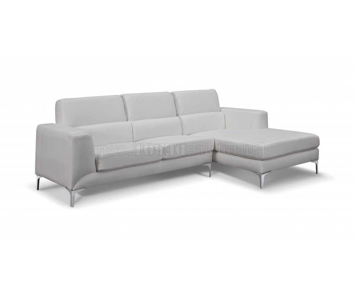 Well Known Sectional Sofa In White Faux Leatherwhiteline Pertaining To Sydney Sectional Sofas (View 8 of 20)