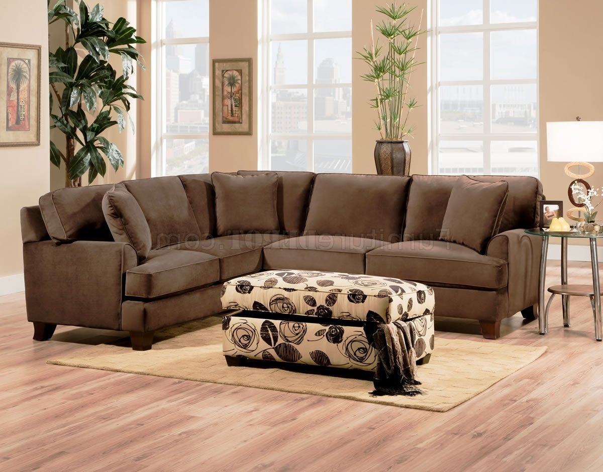 Well Known Sectional Sofas With Ottoman Inside Bella Chocolate Fabric Sectional Sofa W/optional Chair & Ottoman (View 20 of 20)