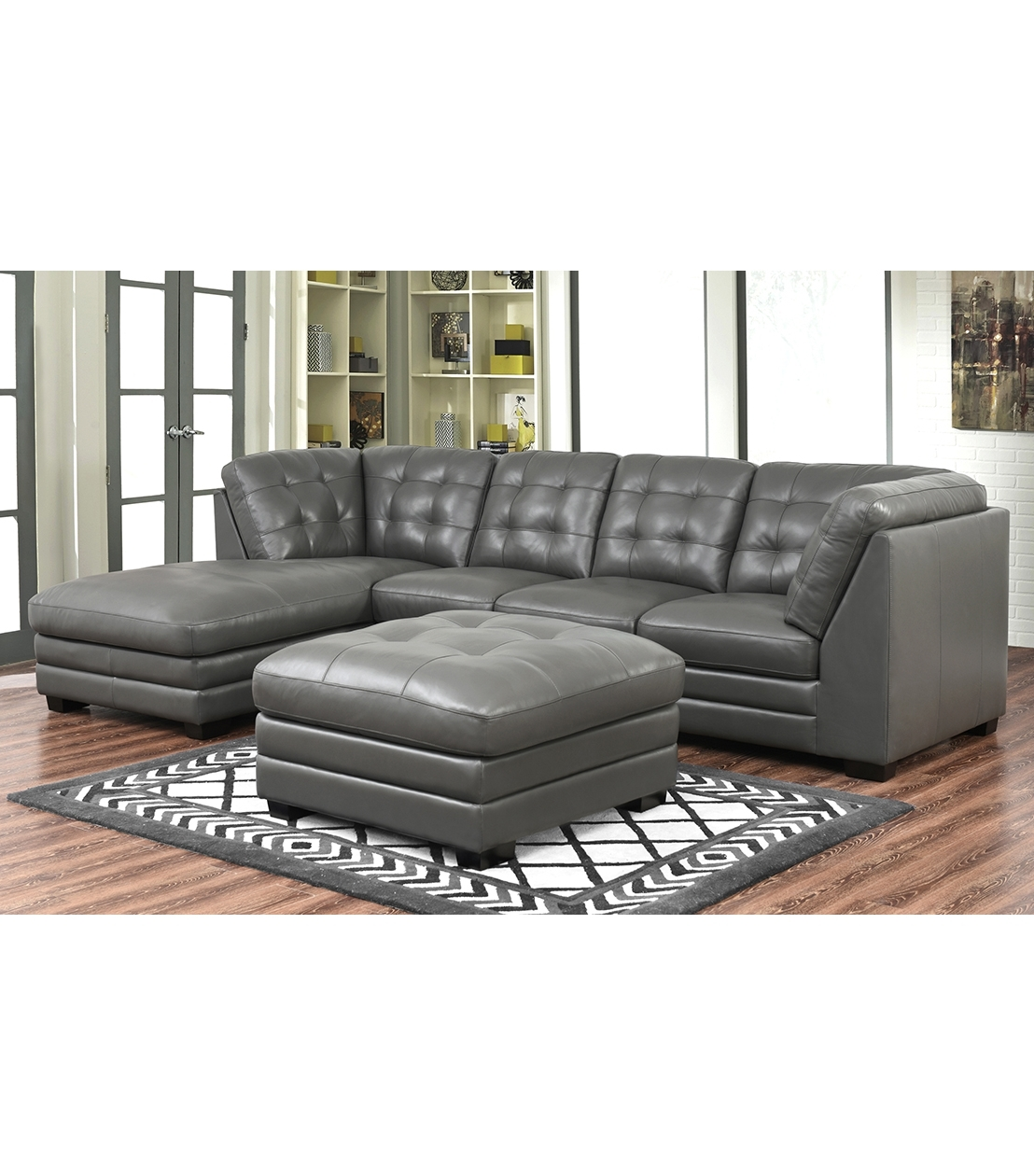 Well Known Sectionals : Lawrence Top Grain Leather Sectional With Ottoman With Leather Sectionals With Ottoman (View 19 of 20)