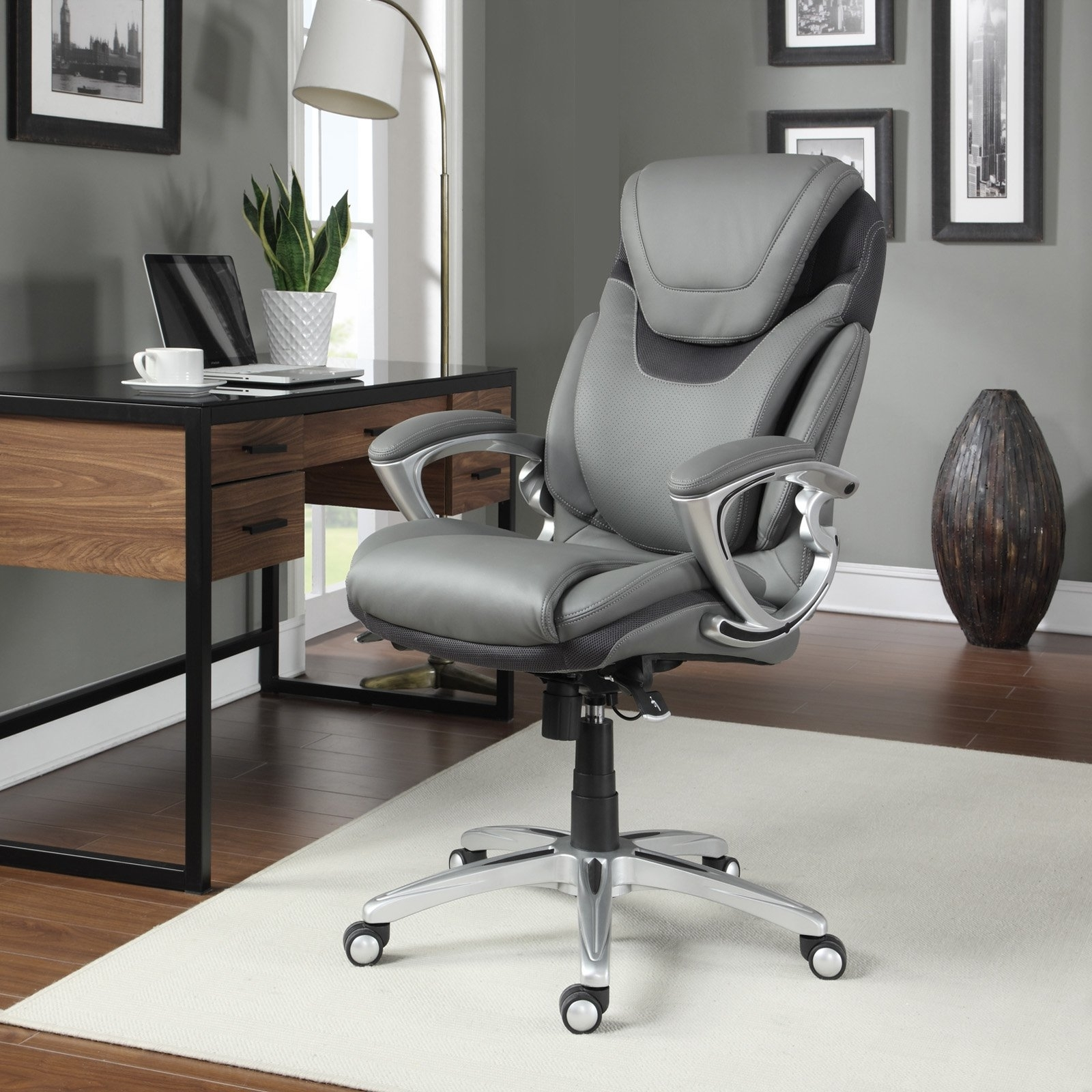 Well Known Serta Air Health & Wellness Leather Executive Office Chair, Light Regarding Brown Executive Office Chairs (View 16 of 20)