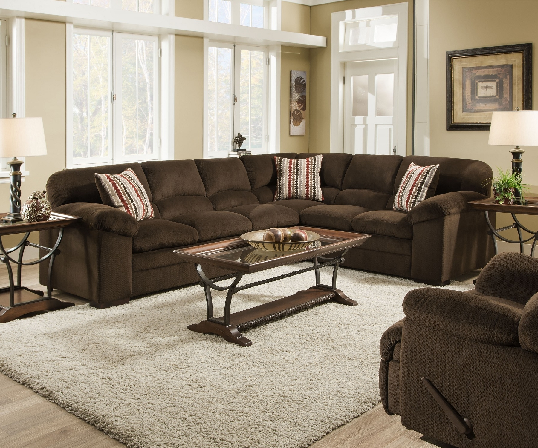 Well Known Simmons Dover 8043 Chocolate Ultra Plush Soft Seating Made In The Usa With Regard To Chocolate Sectional Sofas (View 19 of 20)