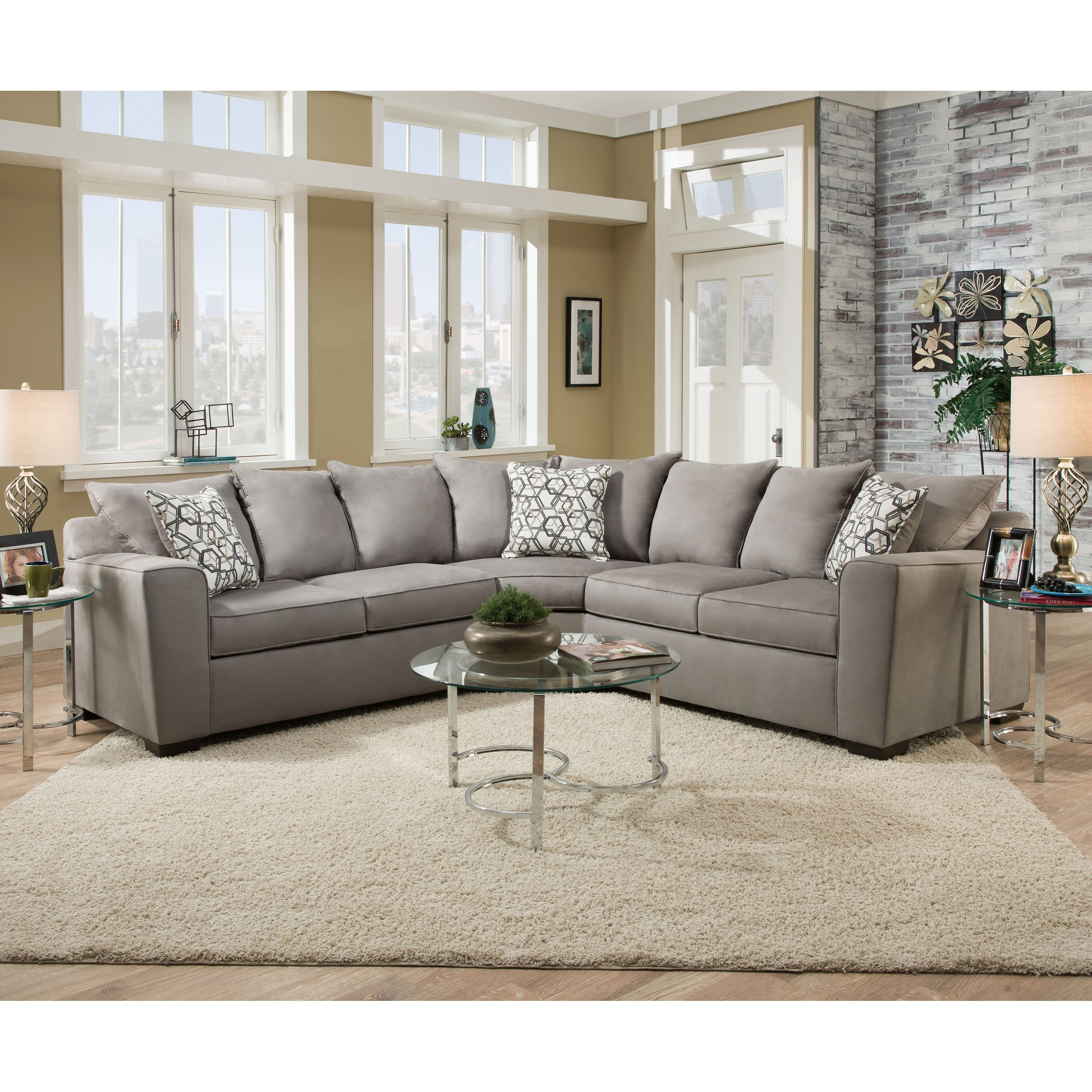 Well Known Simmons Venture Smoke Fabric Sectional (View 12 of 20)