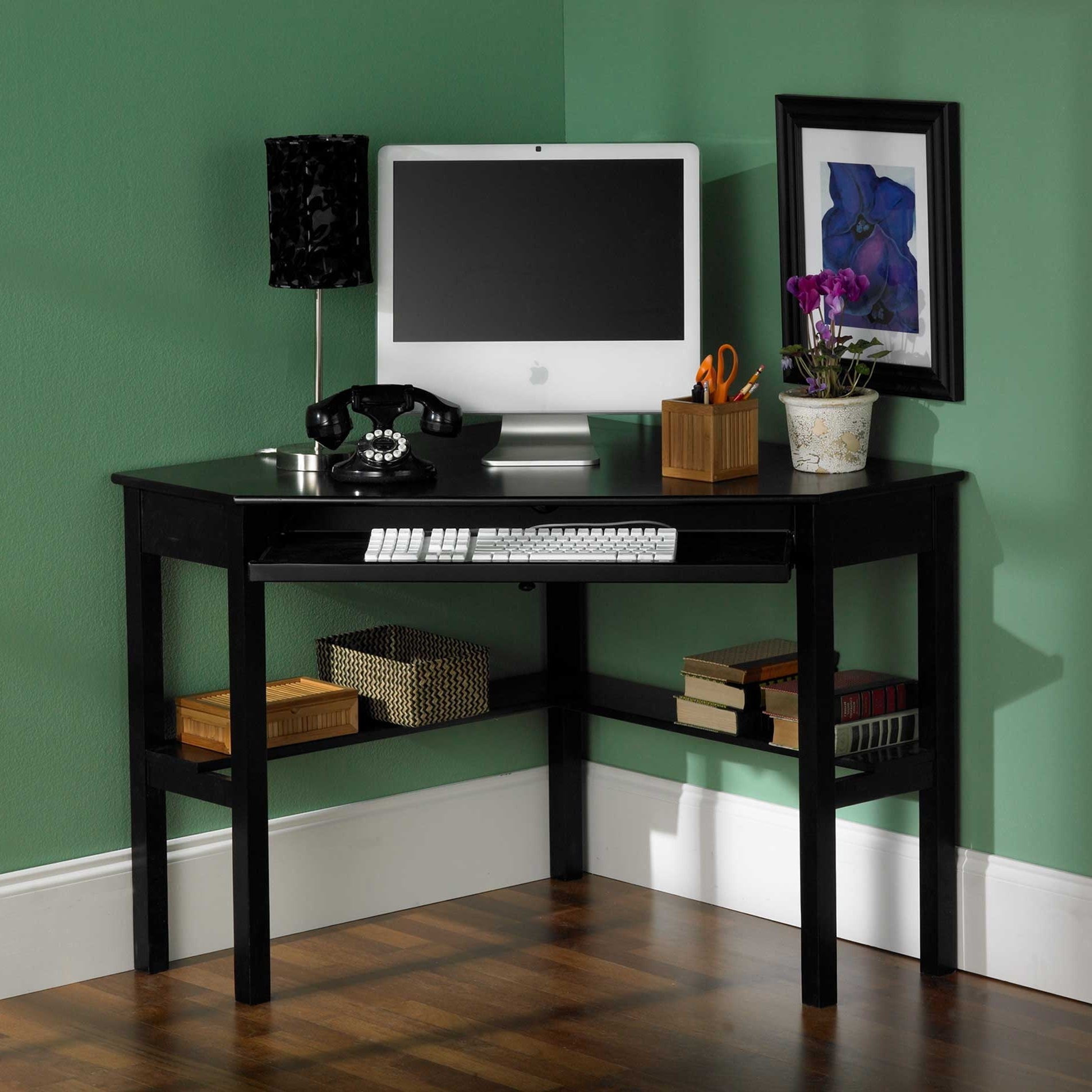 Well Known Small Black Home Office Desk In The Corner Room With Bookshelf And Pertaining To Computer Desks For Small Areas (View 12 of 20)