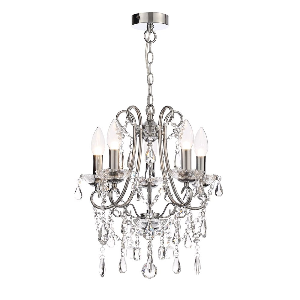 Well Known Small Chrome Chandelier In Annalee Small 5 Light Crystal Chandelier Chrome (View 18 of 20)