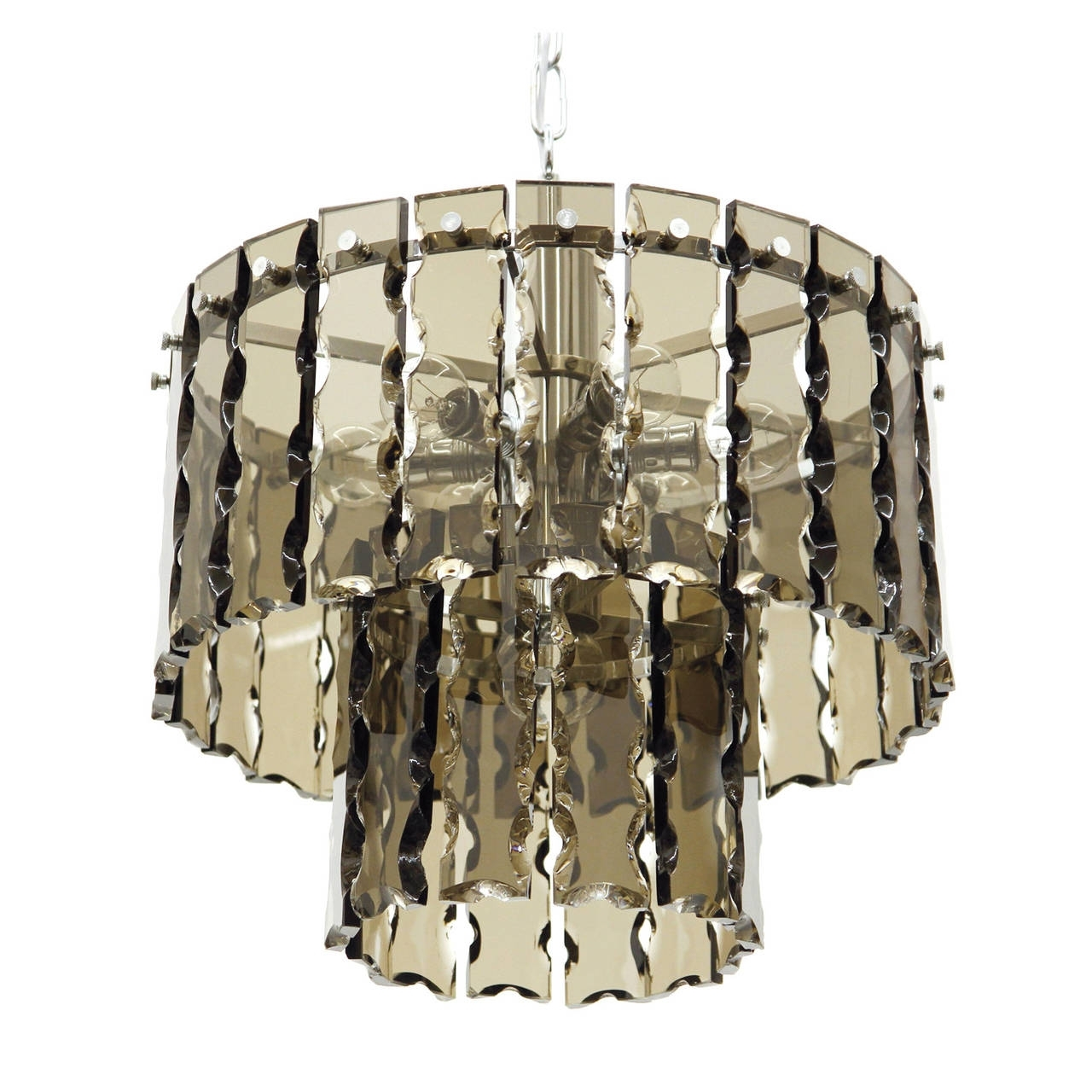Well Known Smoked Glass Chandelier Inside Fontana Arte Style Two Tier Smoke Glass Chandelier For Sale At 1Stdibs (View 18 of 20)