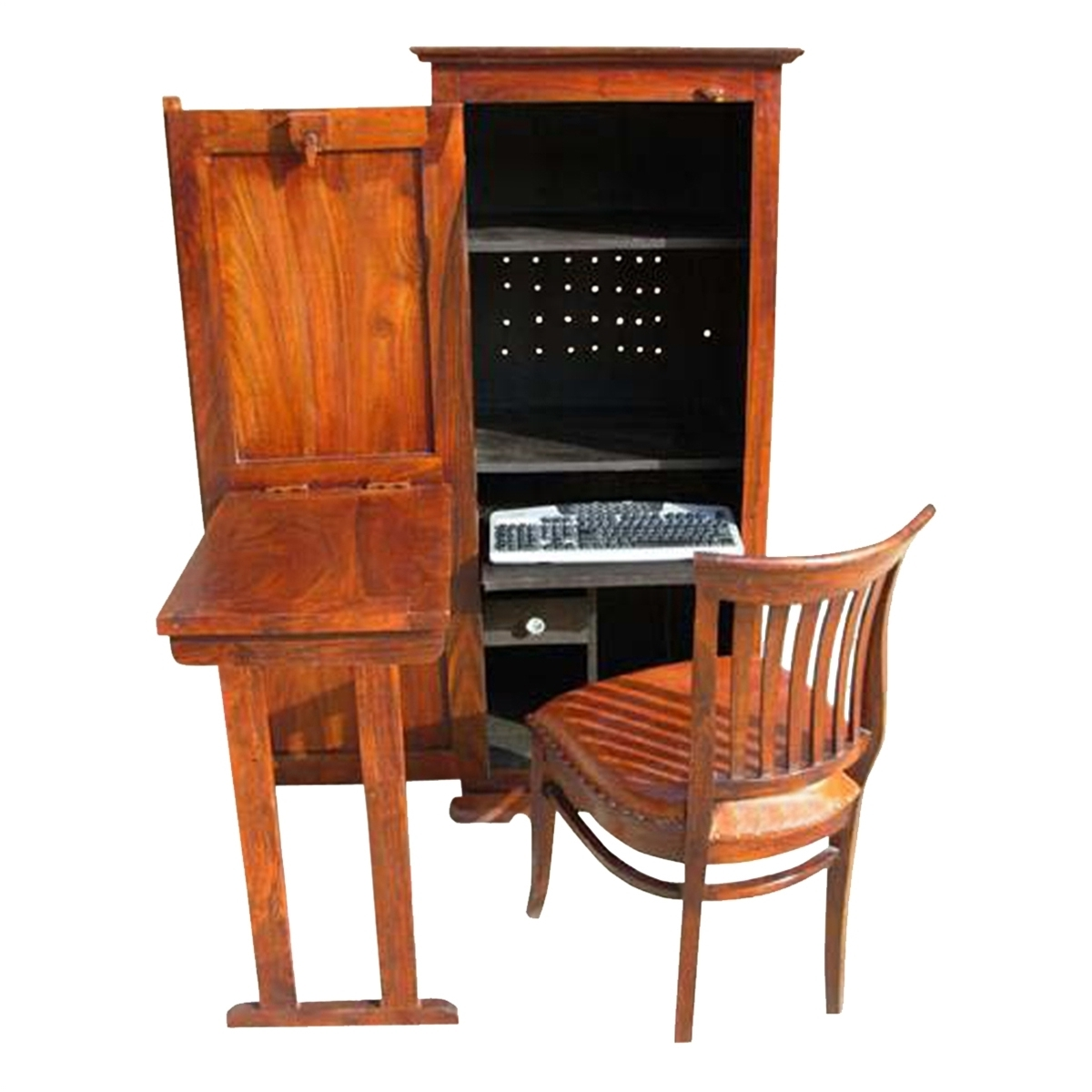 Well Known Solid Wood Computer Desks Intended For Wood Computer Hutch Desk Storage Cabinet (Gallery 2 of 20)