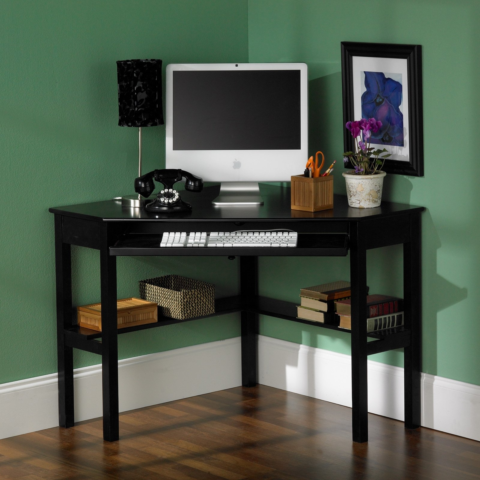 Well Known Southern Enterprises Black Corner Computer Desk – Walmart In Black Computer Desks (View 19 of 20)