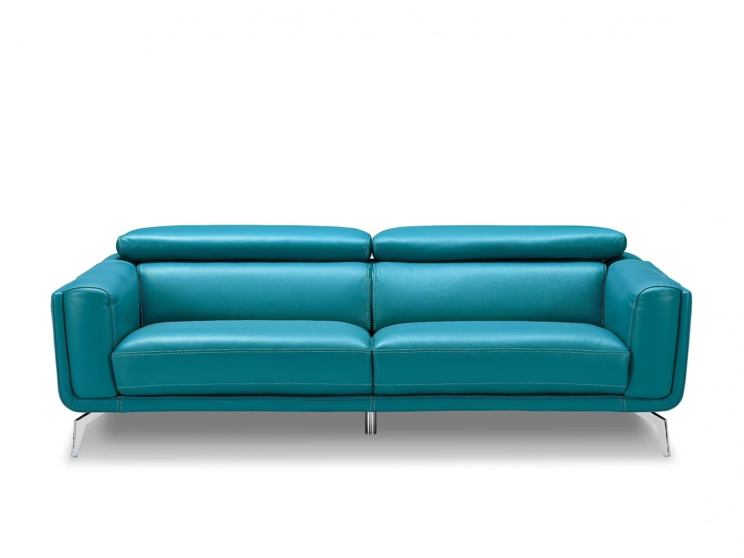 Well Known Sprint Blue Leather Sofa, High Density Foam Sofas, Stainless Steel With Regard To Turquoise Sofas (View 7 of 20)