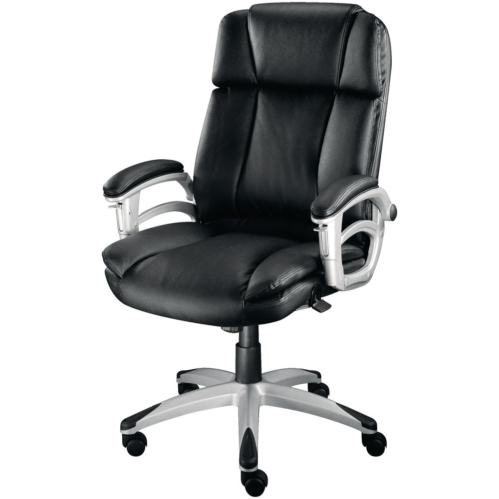 Well Known Staples Warner Executive Leather Faced Chair, Black (View 4 of 20)