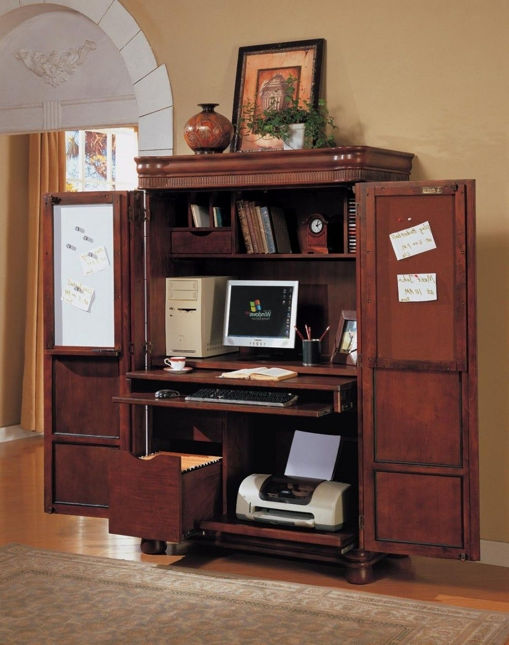Well Known Teak Computer Desks Intended For Computer Armoire–Great Idea To Shut Away Clutter Since Computer (View 14 of 20)