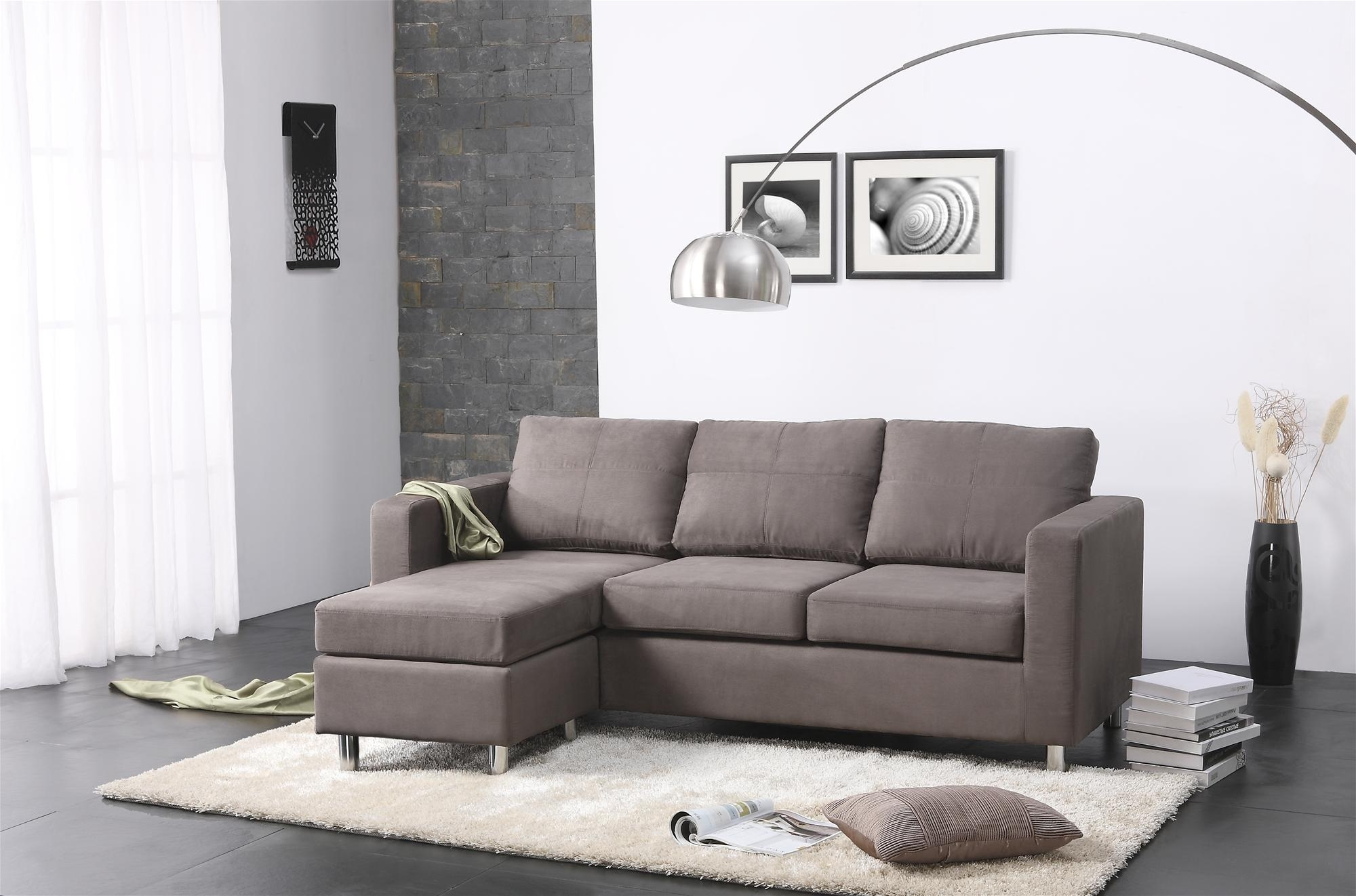 Well Known Tiny Sofas Within Modern Minimalist Living Room Design With Gray Microfiber (View 20 of 20)