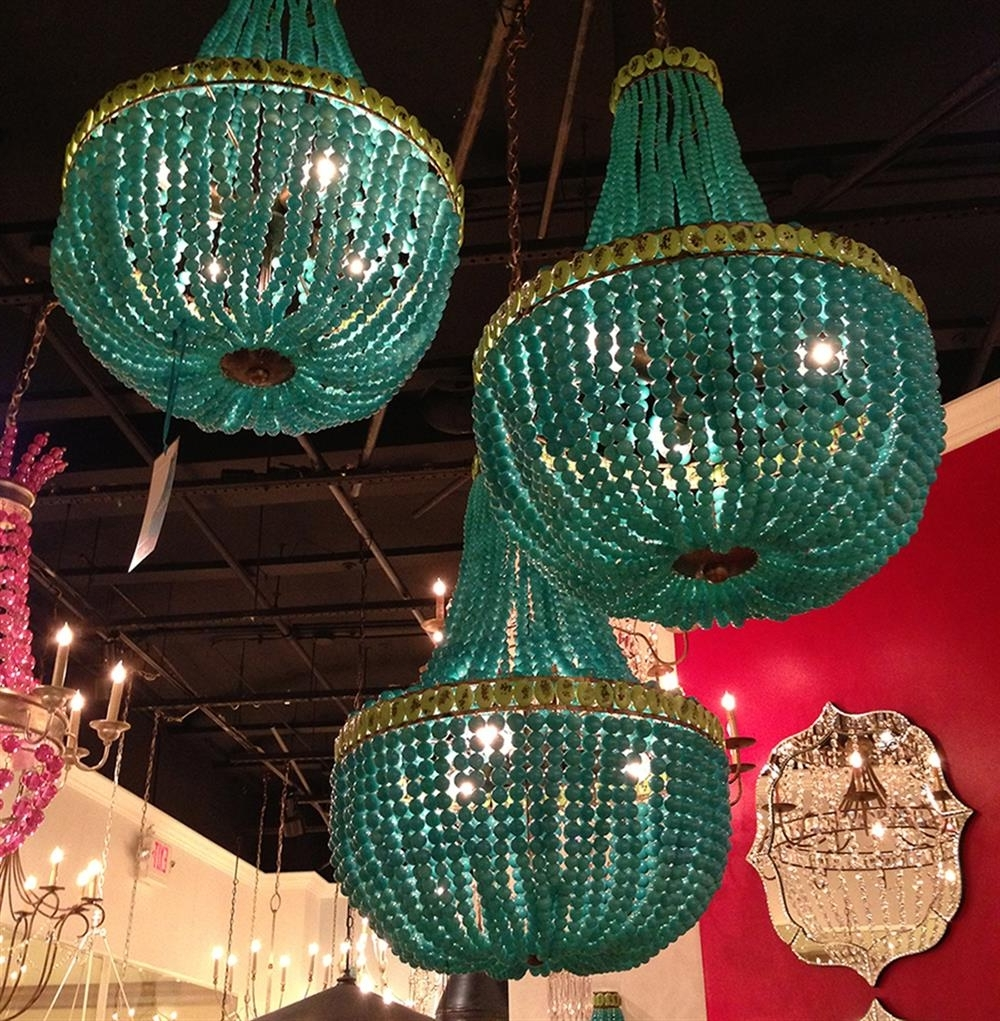 Well Known Turquoise Blue Beaded Coastal Beach 3 Light Chandelier (View 20 of 20)