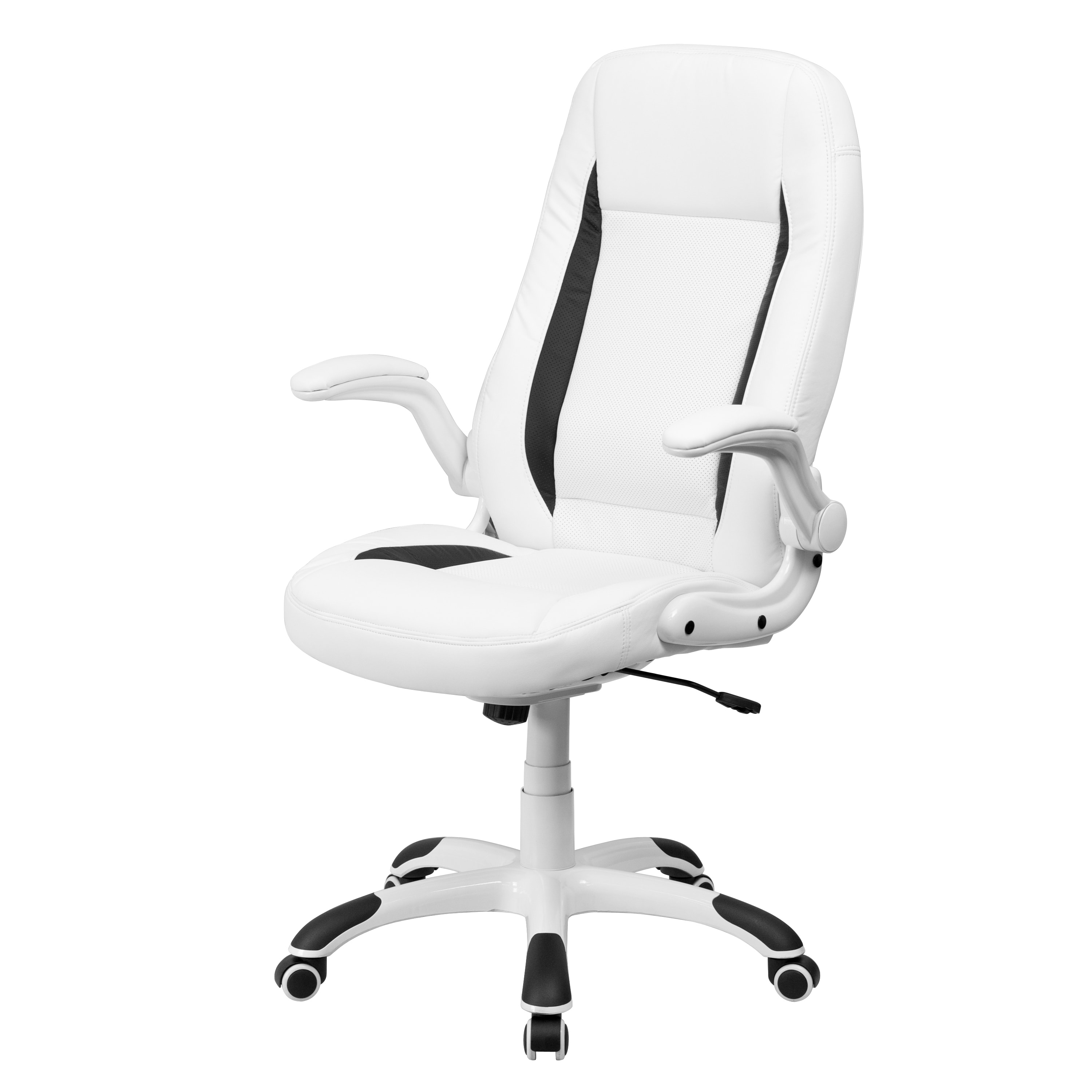 Well Known Unique Executive Office Chairs Intended For High Back White Leather Executive Office Chair With Flip Up Arms (View 6 of 20)