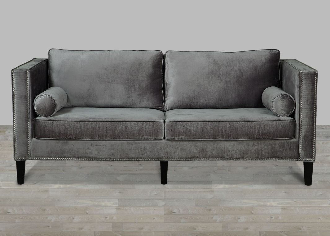 Well Known Velvet Sofas With Velvet Sofa With Nailheads (View 10 of 20)