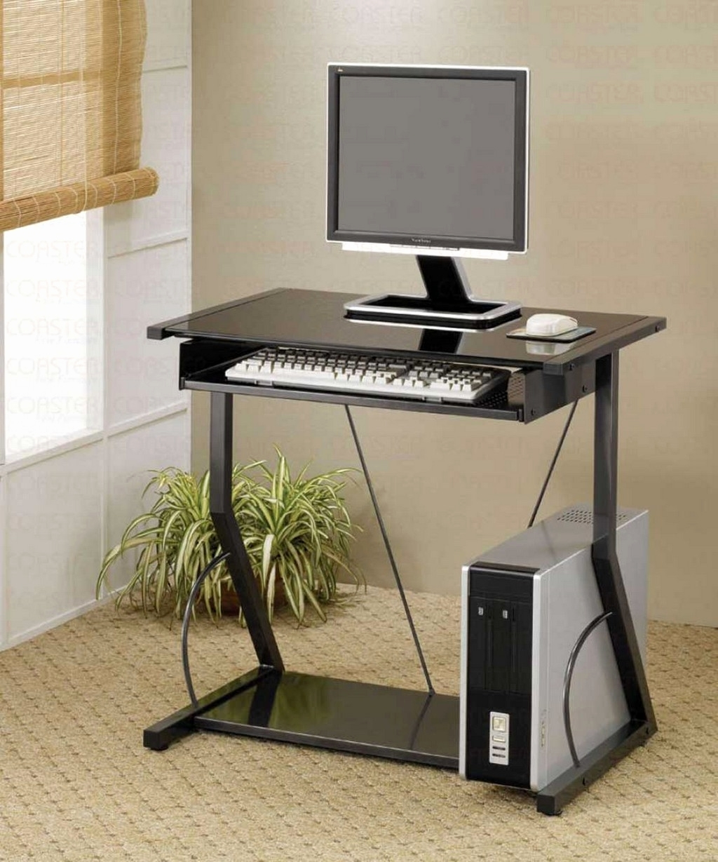 Well Known Vertical Computer Desks With Furniture : Cheap Black Desk Portable Computer Desk Table Small (View 6 of 20)