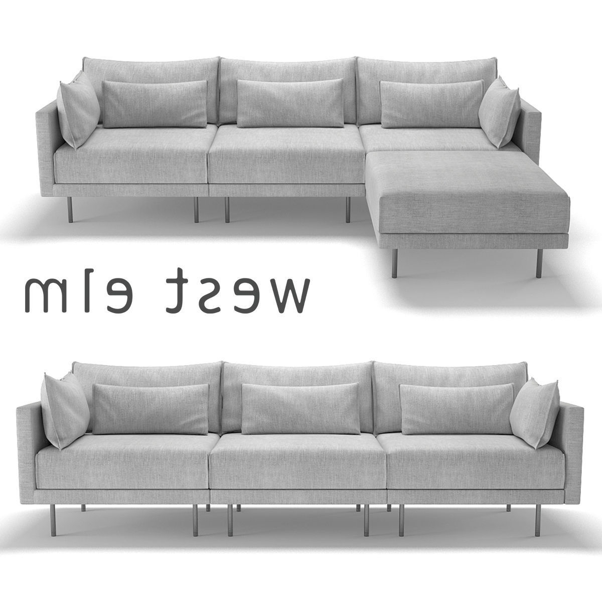 Well Known West Elm Sectional Sofas Intended For West Elm Halsey Sectional Sofa 3D (View 12 of 20)