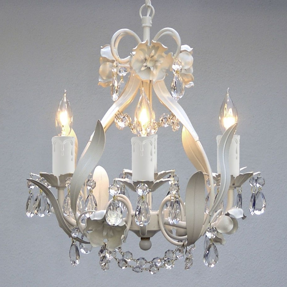Well Known White And Crystal Chandeliers In Mini White Floral Hanging Crystal Chandelier Light Fixture 4 Light (View 12 of 20)