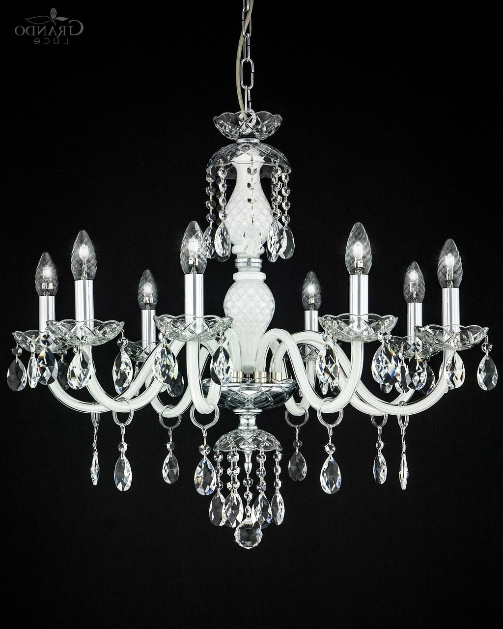 Well Known White And Crystal Chandeliers With Regard To 104/ch 8 Chrome White Crystal Chandelier With Swrovski Spectra (View 14 of 20)