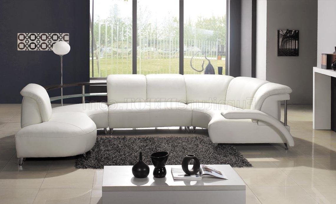 Well Known White Leather Modern U Shaped Sectional Sofa W/shelves For Modern U Shaped Sectional Sofas (View 10 of 20)