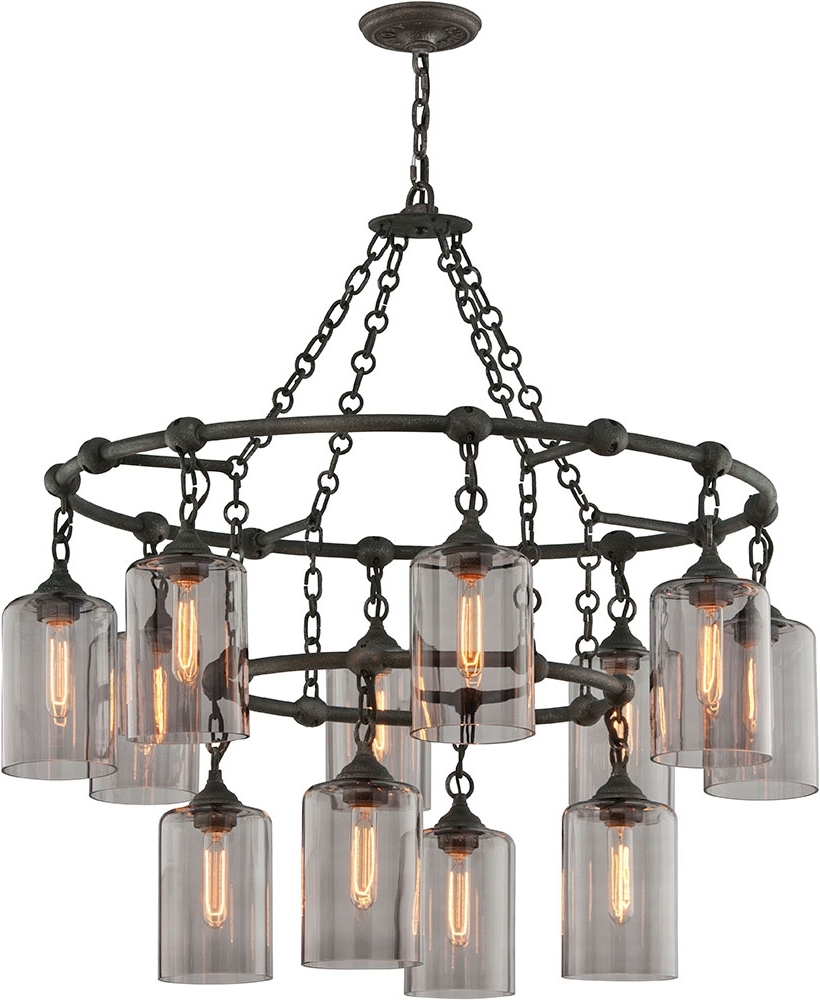 Well Known Wrought Iron Chandelier Intended For Troy F4425 Gotham Hand Worked Wrought Iron Chandelier Lamp – Tro F (View 6 of 20)