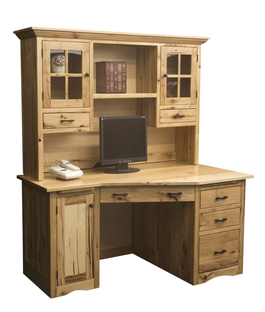 Well Liked Amish Rustic Mission Wedge Computer Desk Hutch Cpu Cabinet Wood In Rustic Computer Desks (View 19 of 20)