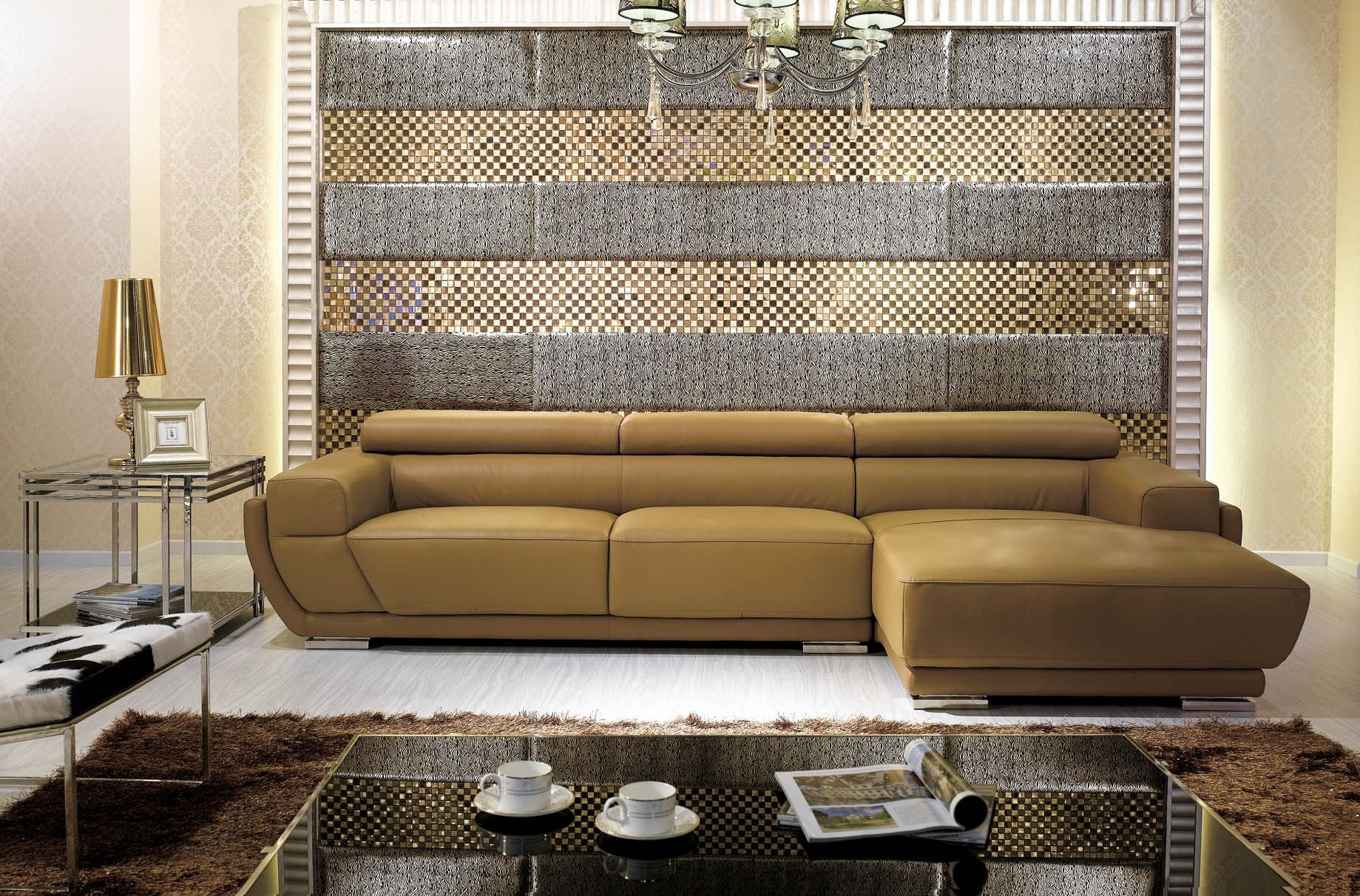 Well Liked Camel Colored Sectional Sofas With Regard To K8300 Modern Camel Italian Leather Sectional Sofa (View 5 of 20)