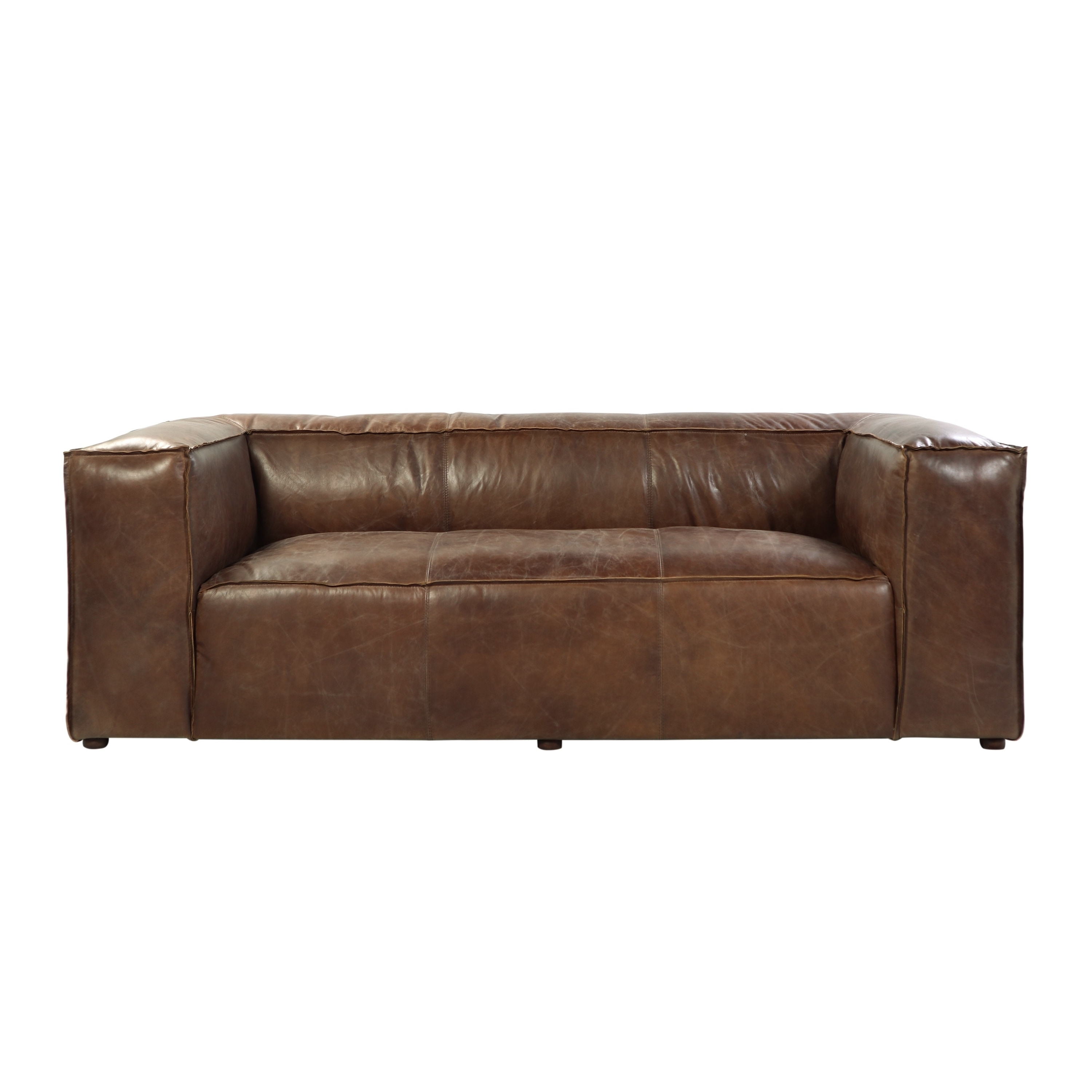 Well Liked Canterbury Leather Sofas Intended For Acme Furniture Brancaster Top Grain Leather Sofa, Retro Brown (View 11 of 20)