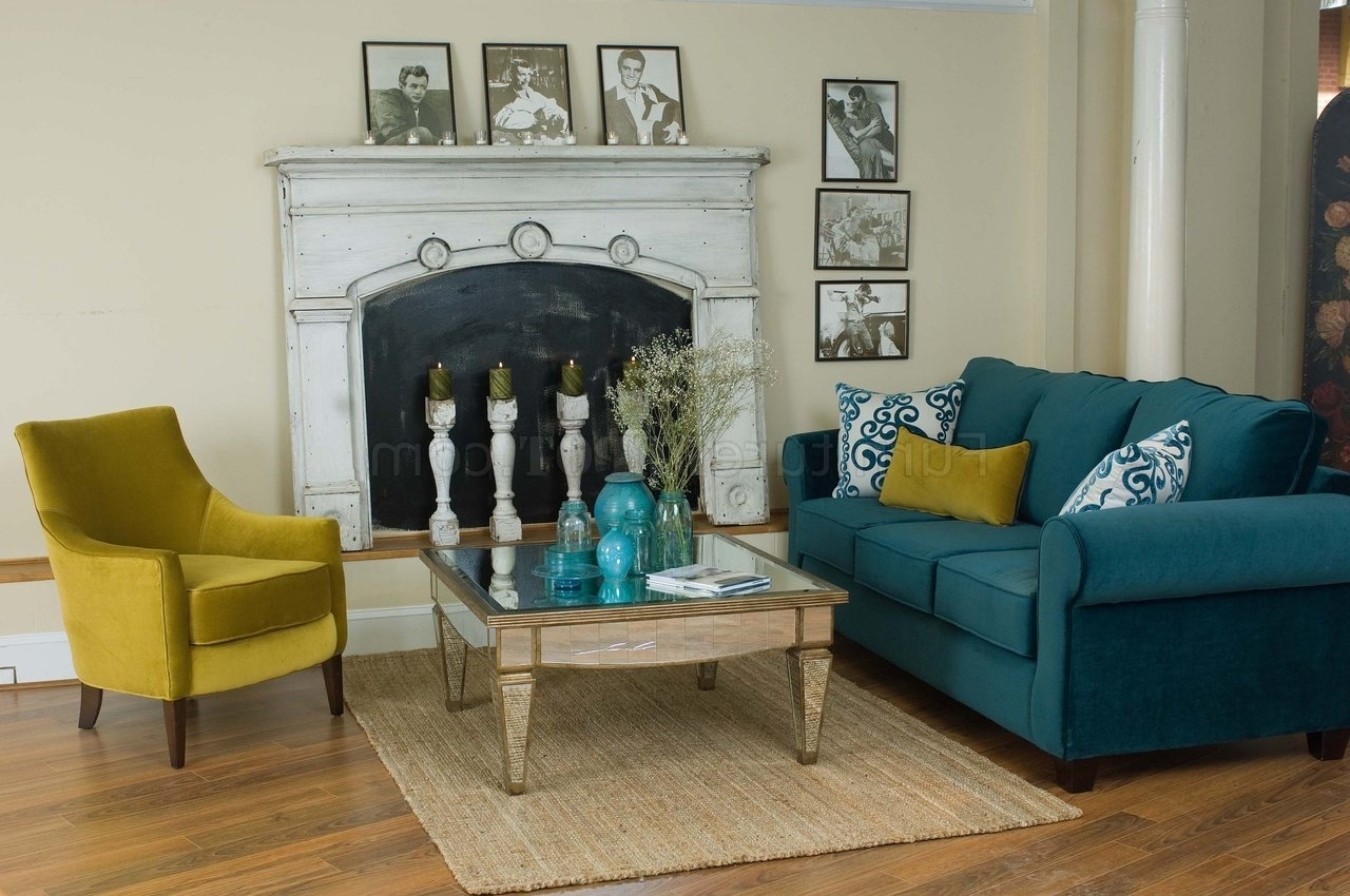Well Liked Casual Sofas And Chairs Within Casual Fabric Living Room Blue Sofa & Golden Green Chair Set (View 2 of 20)