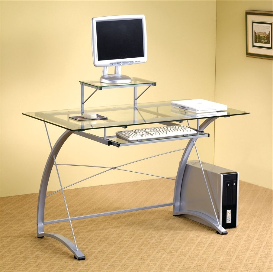 Well Liked Computer Desks Ergonomic For Home Regarding Cheap Glass Computer Desk Cheap Office Desks Glass Home Office (View 20 of 20)