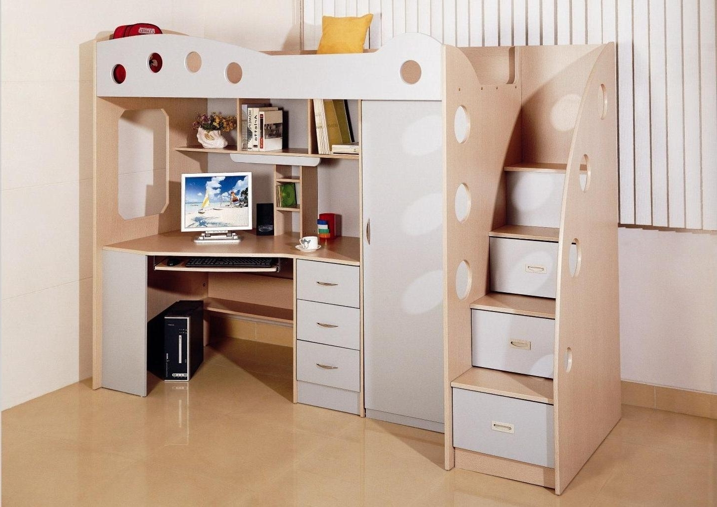 Well Liked Computer Desks Under Stairs Regarding Elegance Computer Desks For Children's Room Design Under The Bed (View 7 of 20)