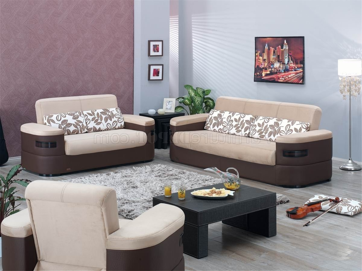 Well Liked Cream Fabric & Brown Vinyl Two Tone Modern Sofa Bed W/options In Las Vegas Sectional Sofas (View 16 of 20)