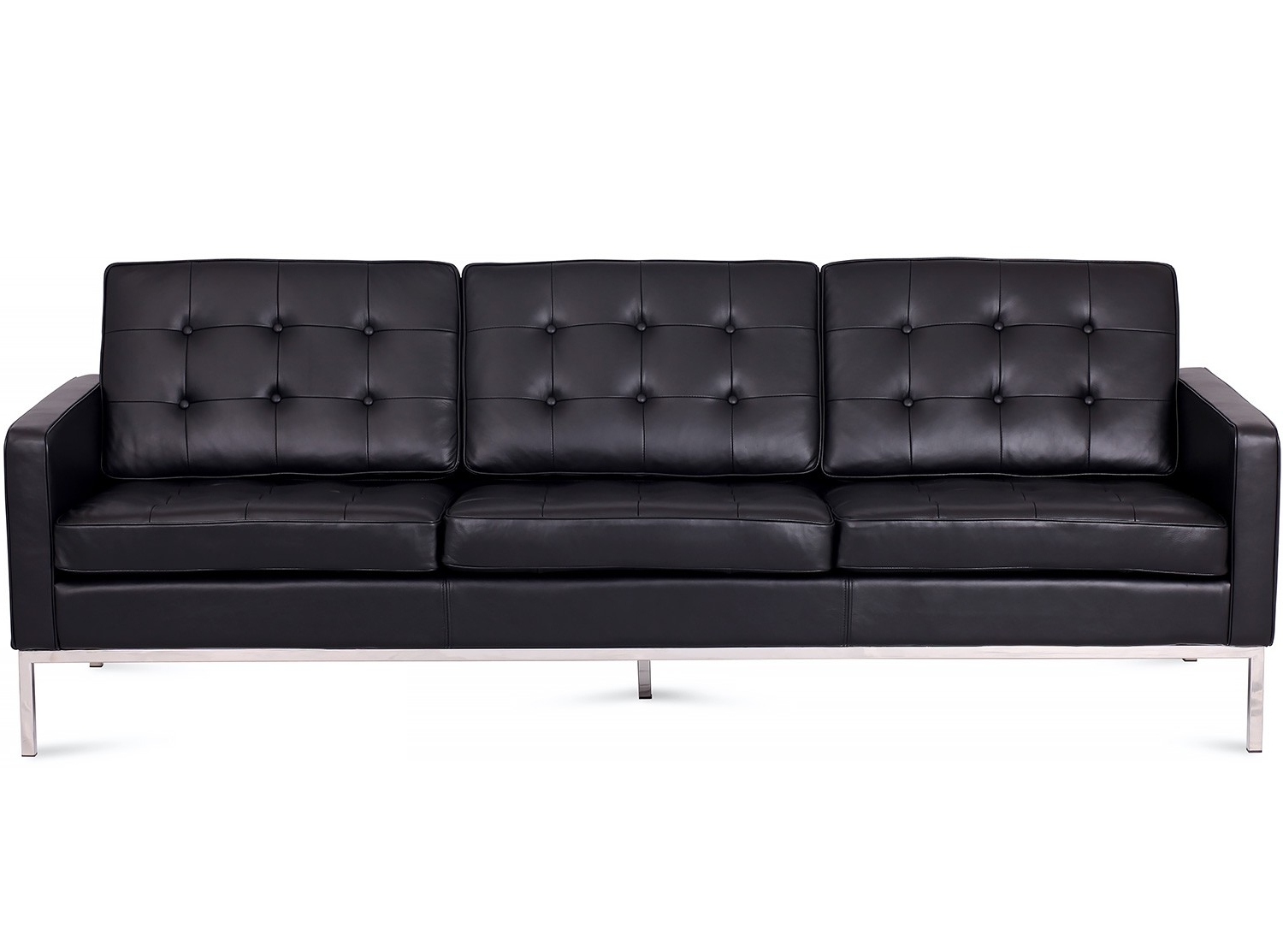 Well Liked Florence Knoll 3 Seater Sofas Inside Florence Knoll Sofa 3 Seater Leather (Platinum Replica) (View 18 of 20)