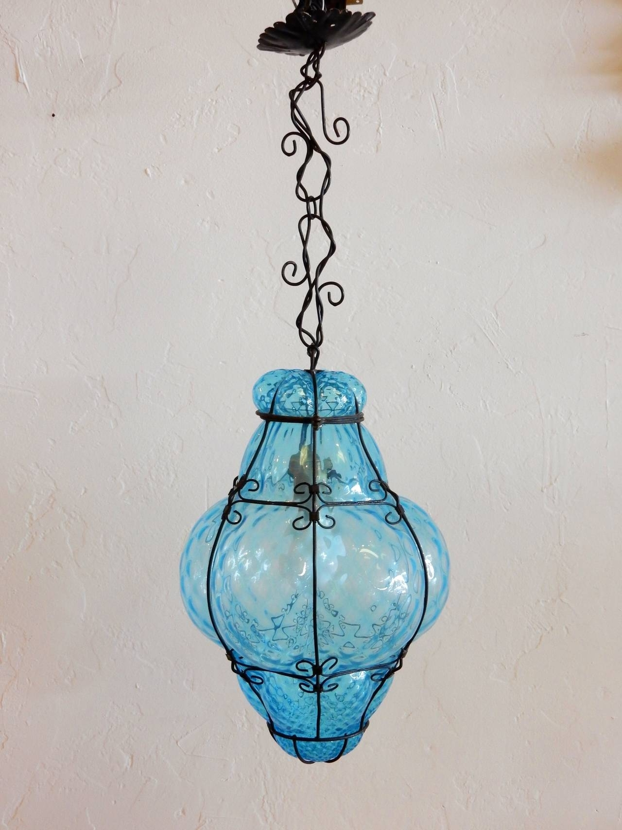 Well Liked Italian Cage Art Glass Pendant Lampseugso In Aqua Blue At 1stdibs In Turquoise Blown Glass Chandeliers (View 7 of 20)