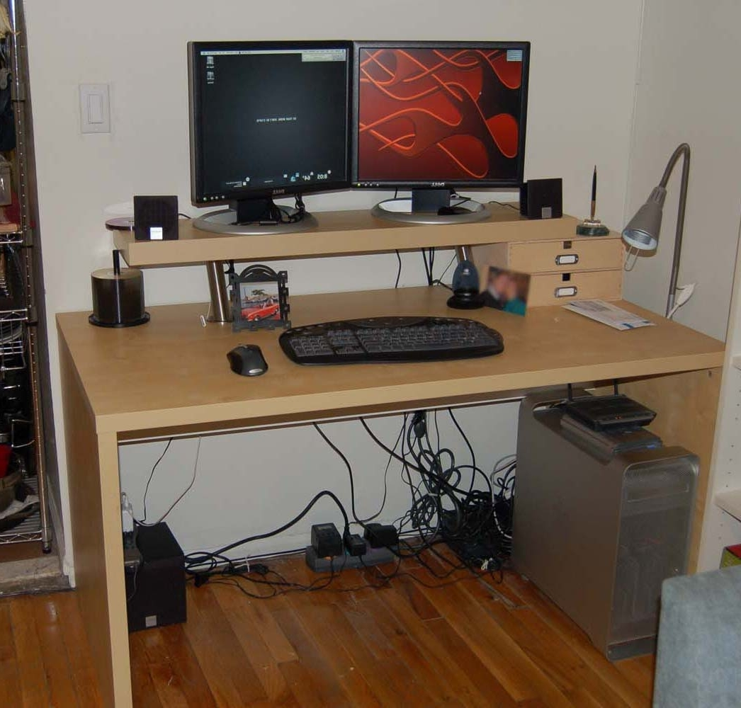 Well Liked Justin's 2 Tier Computer Desk – Ikea Hackers Pertaining To Computer Desks For Two Monitors (View 20 of 20)