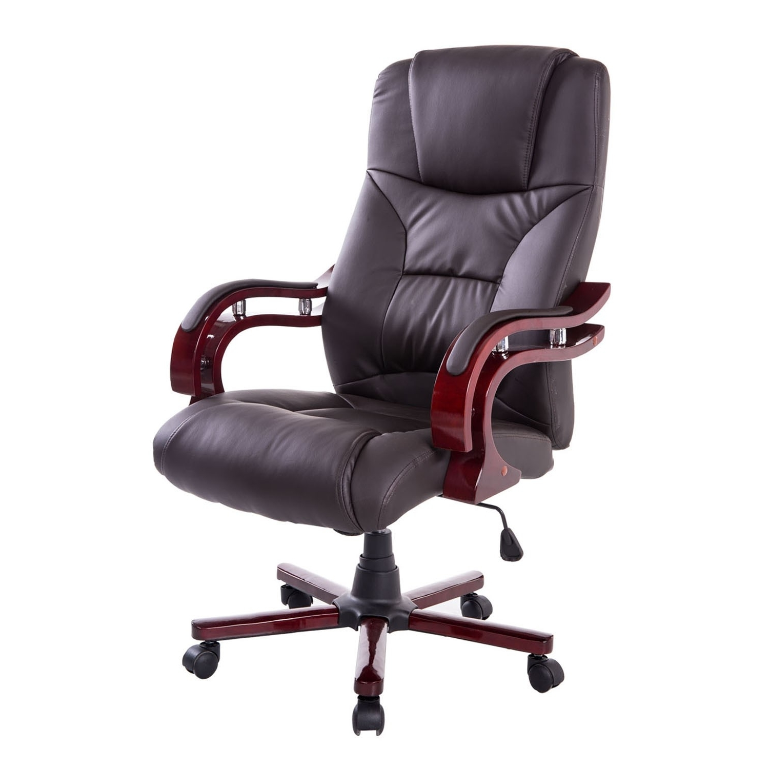 Well Liked Leather Wood Executive Office Chairs Throughout Pu Leather / Wood High Back Executive Office Chair – Brown (View 20 of 20)