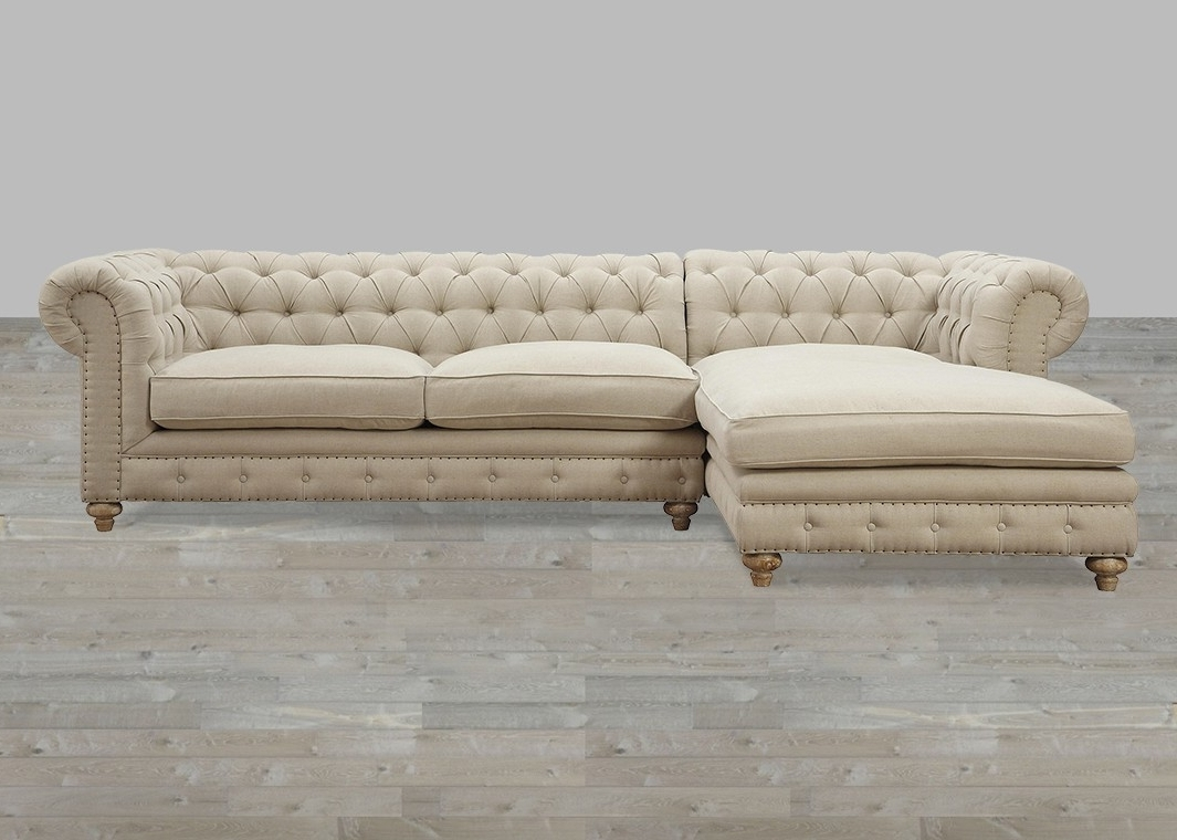 Well Liked Linen Laf Sectional With Nail Head Trim Intended For Tufted Linen Sofas (View 17 of 20)