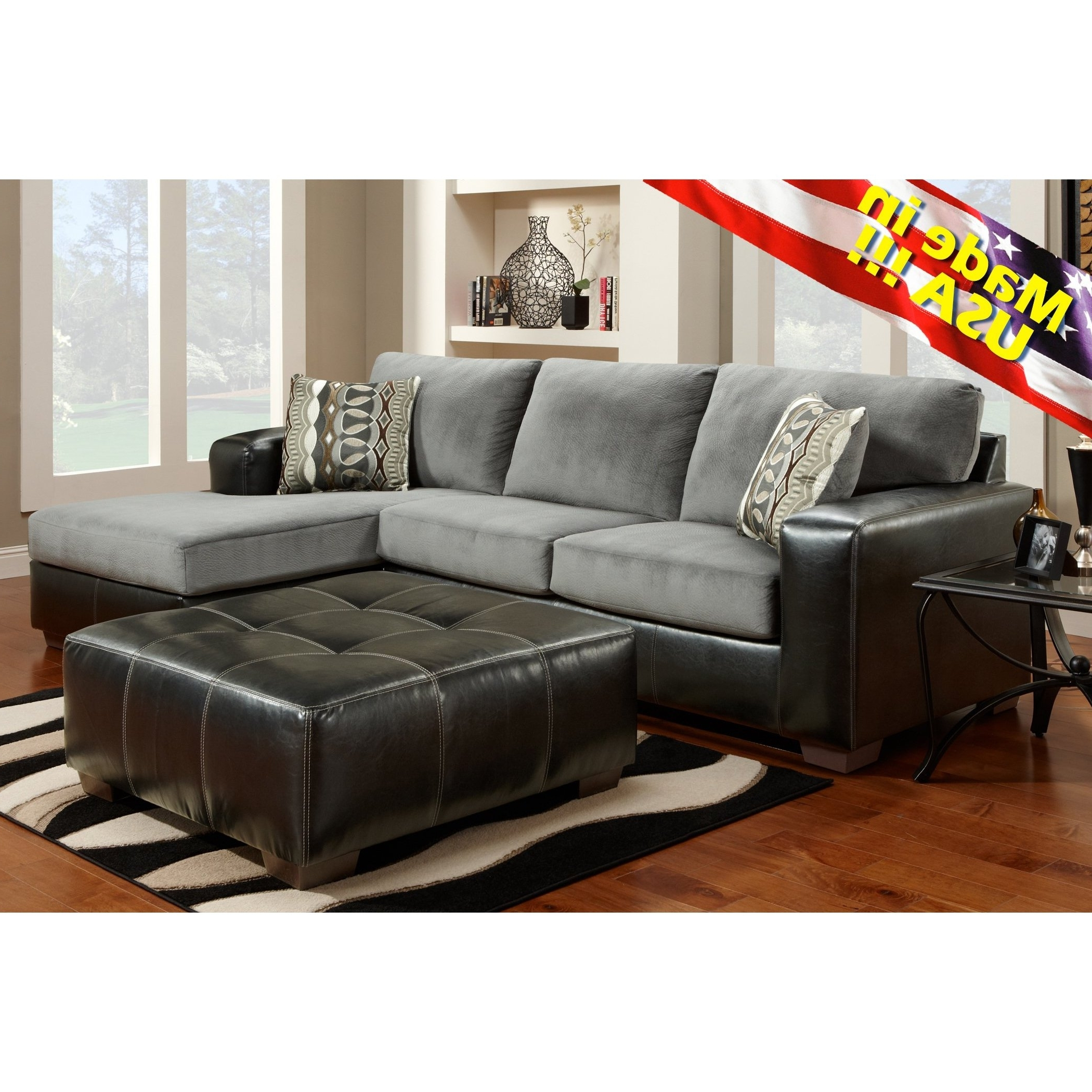 Well Liked Made In Usa Sectional Sofas With Cumulus Black Gray Two Toned Sectional Sofa Chaise Set, Made In (View 20 of 20)