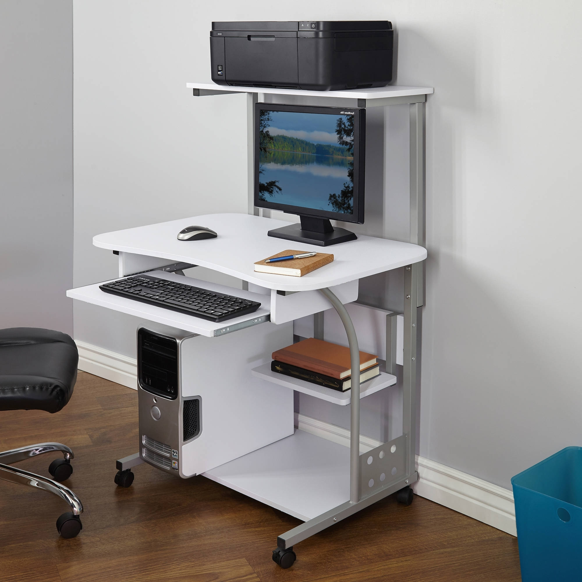 Well Liked Portable Computer Desks Intended For Computer Table Tower Sturdy Mobile Desk With Printer Shelf New (View 18 of 20)