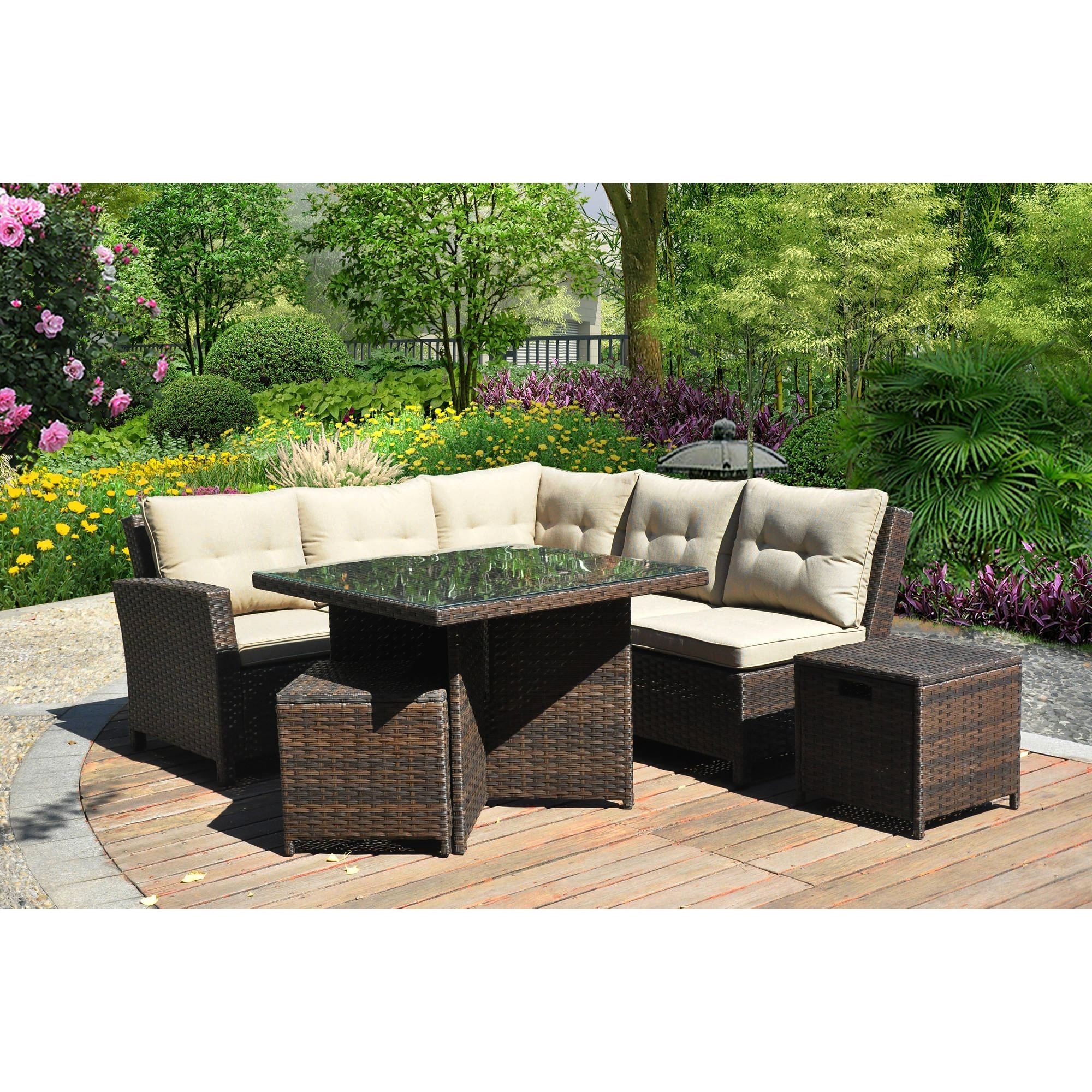 Well Liked Raleigh Outdoor 5 Piece L Shape Wicker Sectional With Cushions With New Orleans Sectional Sofas (View 19 of 20)