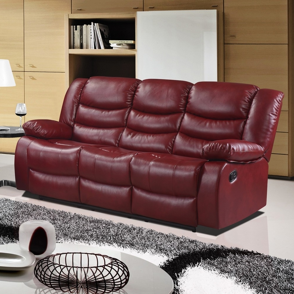Well Liked Red Leather Couches For Furniture: Cozy Family Room With Cranberry Red Leather Recliner (View 19 of 20)