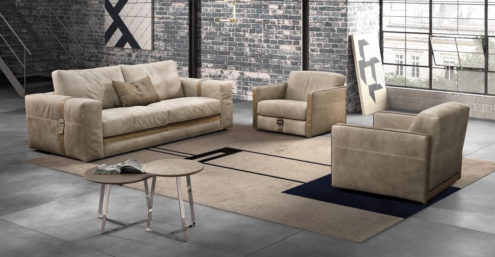 Well Liked Richmond Sofas Regarding Contemporary Sofa / Leather / 2 Seater / Beige – Richmond – Gamma (View 11 of 20)