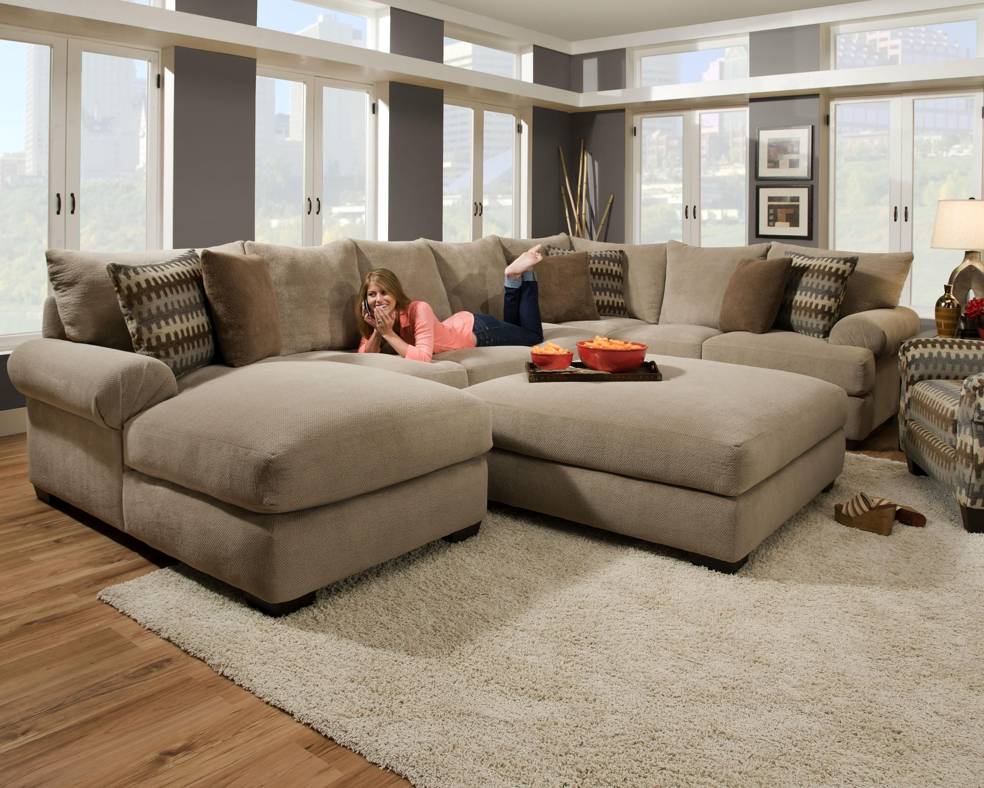 Well Liked Sectional Couches With Large Ottoman Intended For Furniture Design Idea For Living Room And Oversized U Shaped (View 3 of 20)