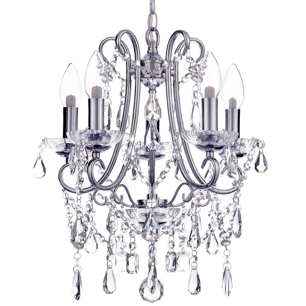 Well Liked Small Chrome Chandelier With Regard To Marquiswaterford – Annalee Small Led 5 Light Bathroom Chandelier (View 16 of 20)