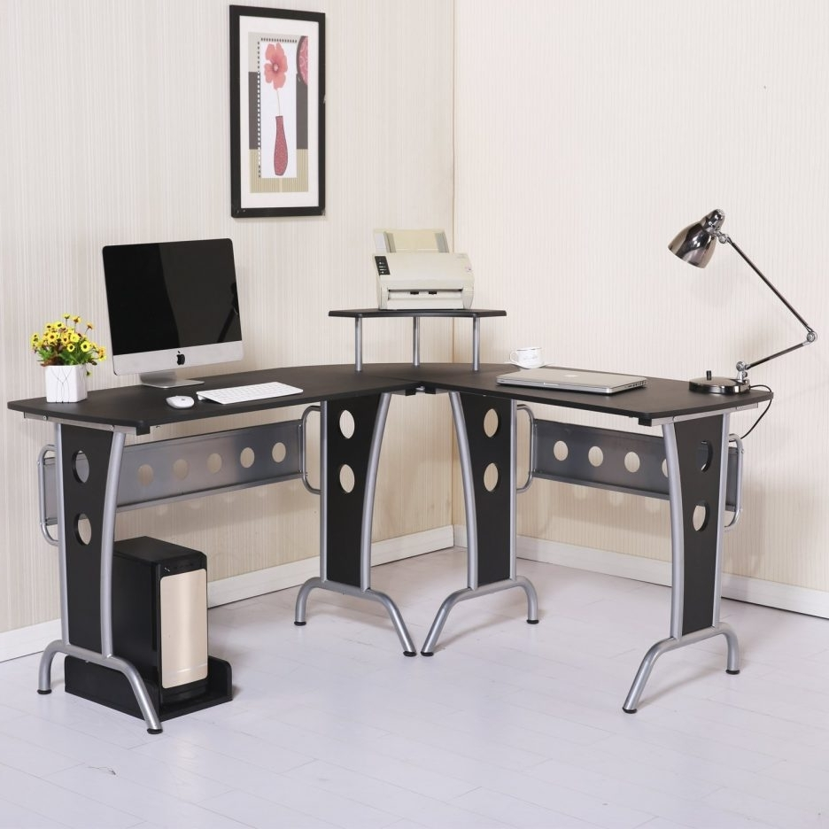 Well Liked Teak Computer Desks With Regard To Computer Table Sturdy Office L Shaped Have Lamp Inside And Monitor (View 14 of 20)